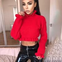 MUXU red sweater Autumn Clothes Knitting Long Sleeve fashion ruffle woman clothes streetwear short tunic sueteres mujer de moda