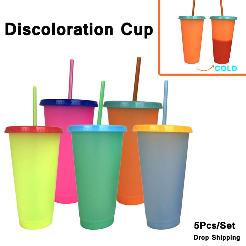 700mL Plastic Temperature Change Color Cups 5Pcs/Set Colorful Cold Water Color Changing Coffee Cup Mug Water Bottles With Straws