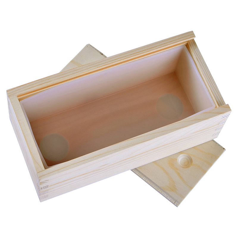 Small Silicone Soap Mold Rectangle Loaf Mould With Wooden Box DIY Handmade Soap Making Tool