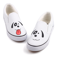 Hand Painted Cute Cartoon Dog Canvas Shoes Women Girls Casual Loafers Graffiti Kawaii Animals Slip-On Students Shoes Espadrilles
