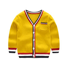 цены Vinnytido Single Breasted Baby Cardigan V-Neck Children Knitting Cardigan Striped Boys Sweaters