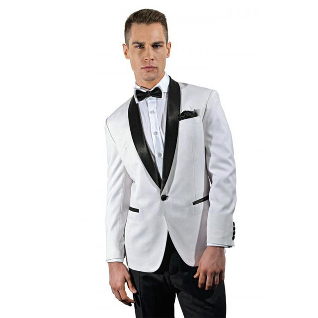 baf19345b9dd 2017 Tailored Made White Blazer Black Satin Shawl Lapel Groom Tuxedos 2  Piece Slim Fit Mens Wedding Prom Dinner Suits Terno