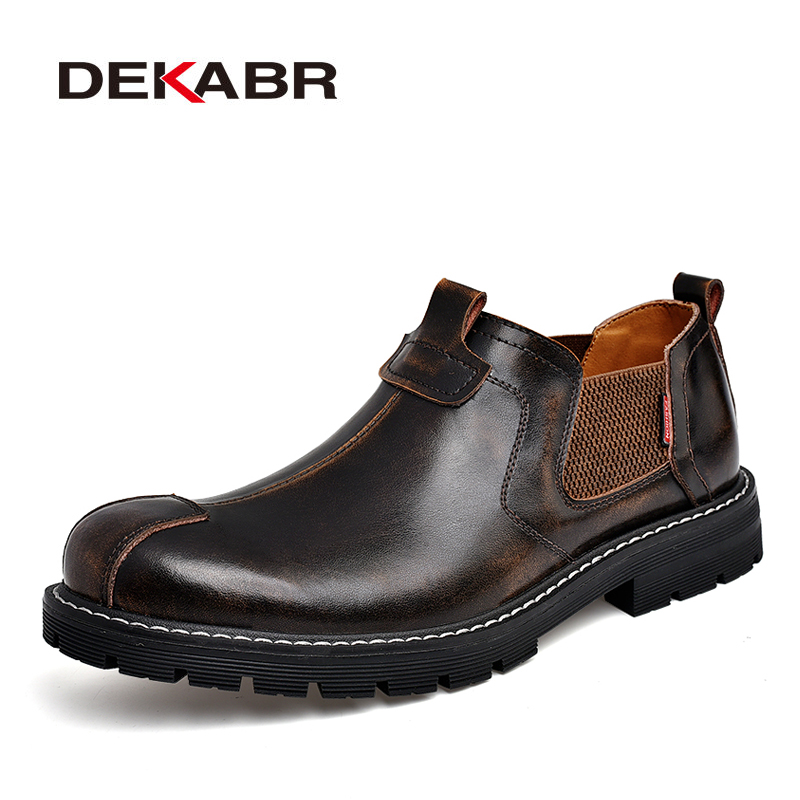 DEKABR 2019 Brand Men Casual Shoes Split Leather Breathable Men's Slip On Flats Work Shoes For Men Handmade High Top Shoes