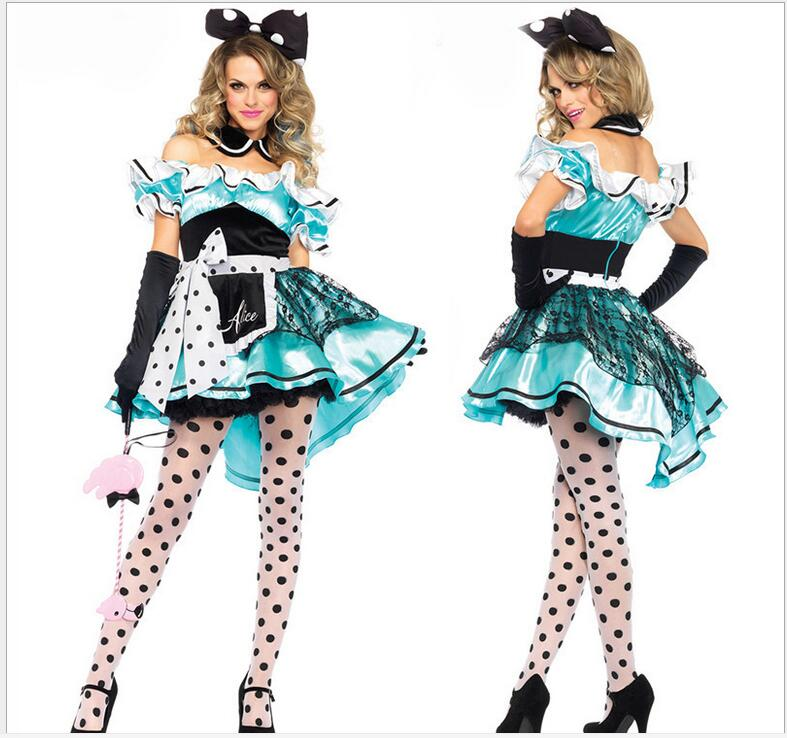 <font><b>Sexy</b></font> <font><b>Alice</b></font> <font><b>in</b></font> <font><b>Wonderland</b></font>,Blue Deluxe Cosplay Halloween <font><b>Costume</b></font>,Fancy lolita Dress M XL image