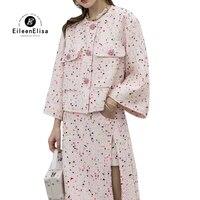Весенний женский комплект из 2 предметов, розовая твидовая куртка и юбка, женская элегантная юбка, комплект, женский костюм