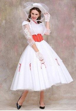 Nach Maß Mary Poppins Kostüm Erwachsene Größe Mit Rot Satin Korsett