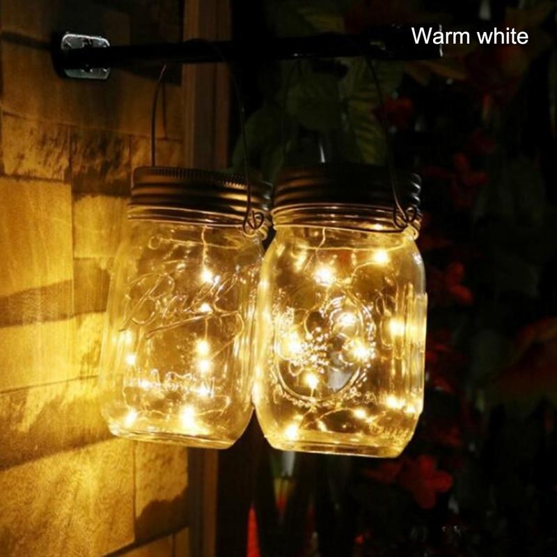 2M 20LED Fairy Light Solar Mason Jar Lid Lights Color Changing Garden Decor Have a bottle