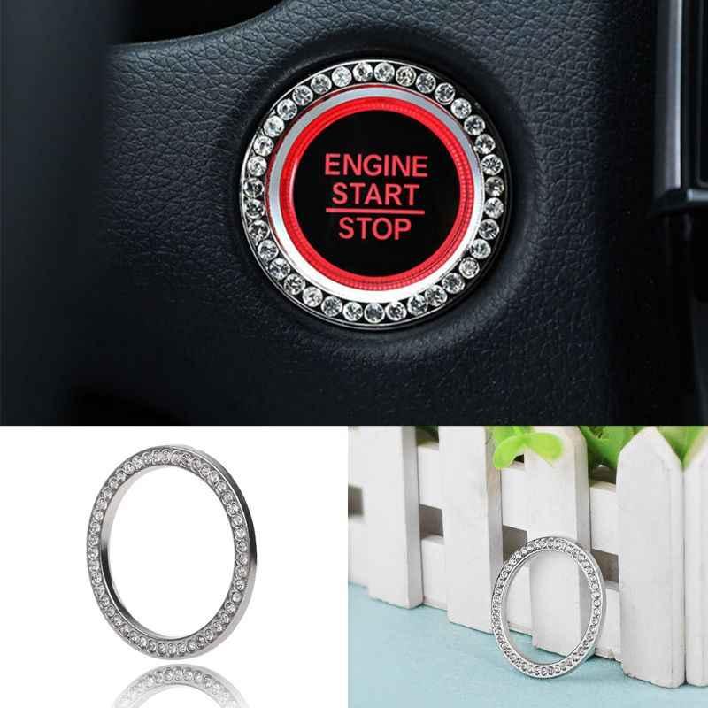 Crystal Fashion Rhinestone Decoração Do Carro Anel Chave de Partida Do Motor Botão de Ignição Start Stop Anel Pegajoso