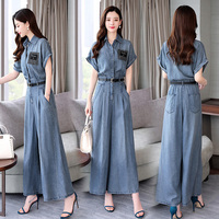 Denim jumpsuit suit female 2019 summer new lapels large size temperament wide leg pants jeans trousers female cowboy