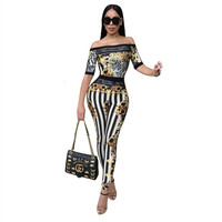 Sexy women Bodycon Jumpsuit 2018 Leopard Print Strapless collar Night Club Rompers Party Playsuit Bodysuit pants JIN YING HUO