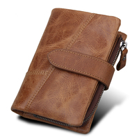 Crazy Horse Genuine Leather Wallet RFID Protection Men Luxury Brand Small Mini Card Holder Male