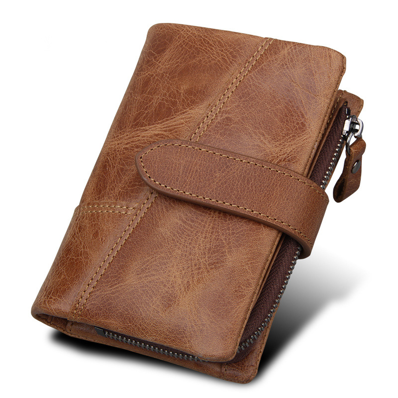 Crazy Horse Genuine Leather Wallet RFID Protection Men Luxury Brand Small Mini Card Holder Male Coin Purse Wallet With Coin Bag crazy horse genuine leather men wallet short male wallet small purse coin pocket money bag vintage card holder cartera hombre