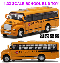 1:32 scaleamerica school bus music flashing  alloy cars for kids  bus model toys for children juguetes 1pcs