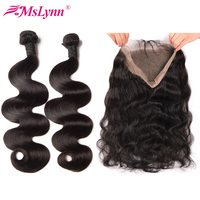 Mslynn Hair Pre Plucked 360 Lace Frontal With Bundle Peruvian Body Wave Human Hair Bundles With Closure Non Remy Hair 3PCS/Lot