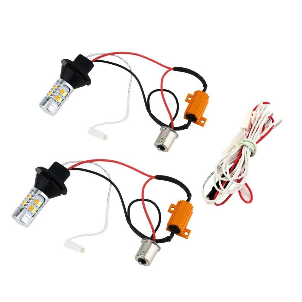 2pcs Car LED Turn Signals DRL Headlight Canbus Kit 1156 Daytime Running Front Light Yellow White Turn Signal Lamp