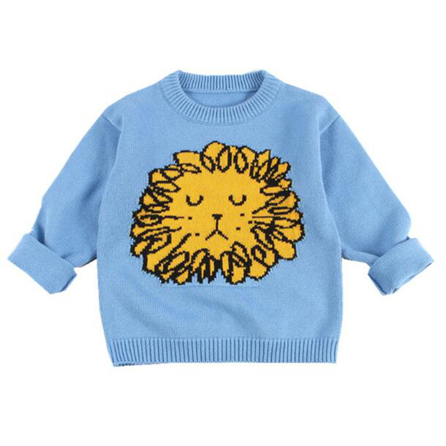 de7d1b4f5 Newborn Baby Boys Sweater Pullover Cute Cartoon Lion Knit Toddler Girls  Jumper Spring Warm Infant Knitwear Tops Autumn Outwear