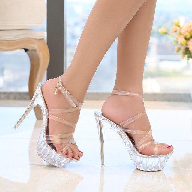 Women Platform Sandals 14cm Clear High Heels Peep Toe Summer Women  Transparent Sandals Shoes Cross Strap Stiletto Women Sandals 2c7047f07da8