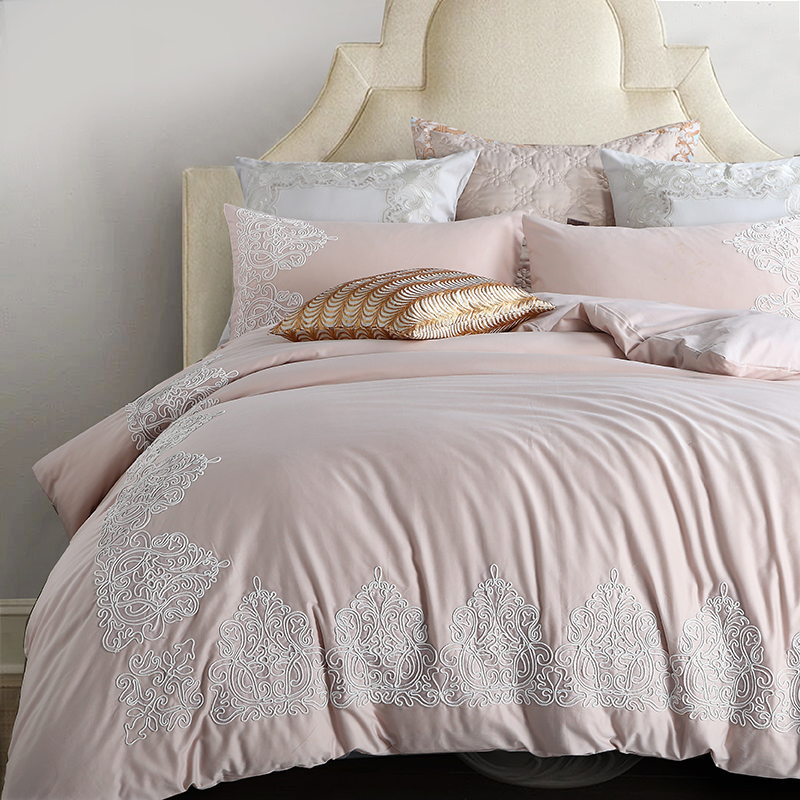 light pink princess style embroidery bedding set 4 6pcs queen king size sanding egyptian cotton. Black Bedroom Furniture Sets. Home Design Ideas