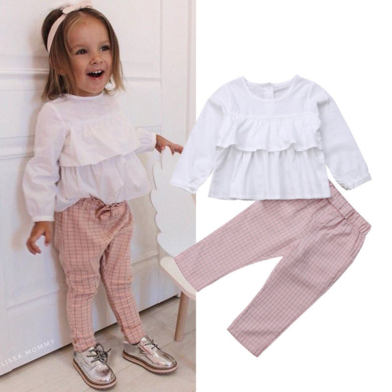 2018 Newly Autumn Toddler Baby Girls Clothes 2PCS Ruffles White T-Shirts Tops+Plaid Pants Lovely Sets Outfit 1-6Y