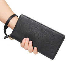 купить 8068A The New 2015 Man Purse 100% Genuine Leather Fashion Long Purse Zipper High Quality Wallet Free Shipping недорого