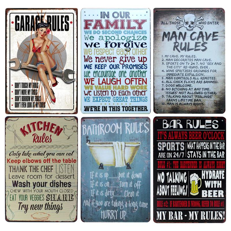 US $4 96 |House Rules Tin Sign Wall Decor Metal Sign Bar Pub Vintage Decor  Tin Sign Retro Metal Plaque Cool Metal Plate Metal Craft-in Plaques & Signs