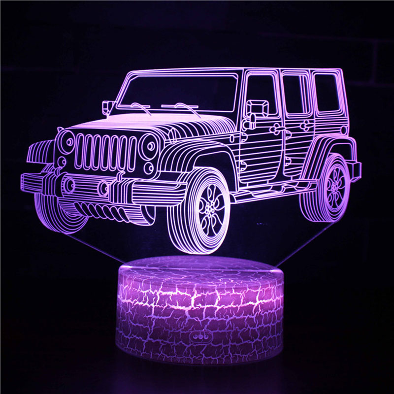 Magiclux Transporation Theme Table Lamp With ABS Base And Acryl Light Board 3D Jeep Car Modle USB Bedroom Lamp For Christmas