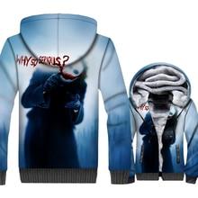 WHY SO SERIOUS Joker 3D Pattern Hoodies For Men Jackets 2018 Autumn Winter Zip Men's Sweatshirts Batman The Dark Knight Hoodie цена и фото