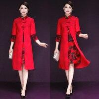 Mới Mùa Thu Vintage Phụ Nữ ăn mặc Mandarin Cổ Áo In Hai Được Cải Thiện Sườn Xám Nút Trong Kỳ Nghỉ Dài Dresses Red Blue 6680