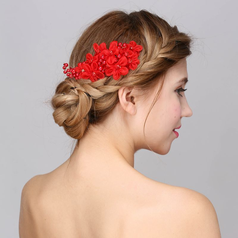 Handmade Bridal Red Flower Hair Comb Wedding Rhinestone