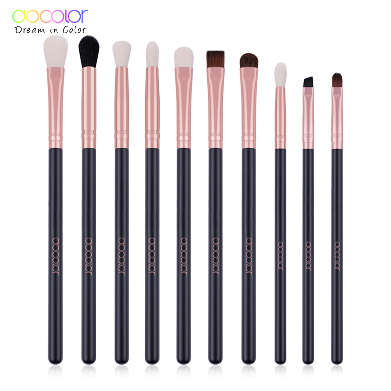 Docolor 10pcs EyeShaow Make Up Brushes Set Pro Rose Gold Eye Shadow Blending Make Up Brushes Soft Synthetic Hair For Beauty