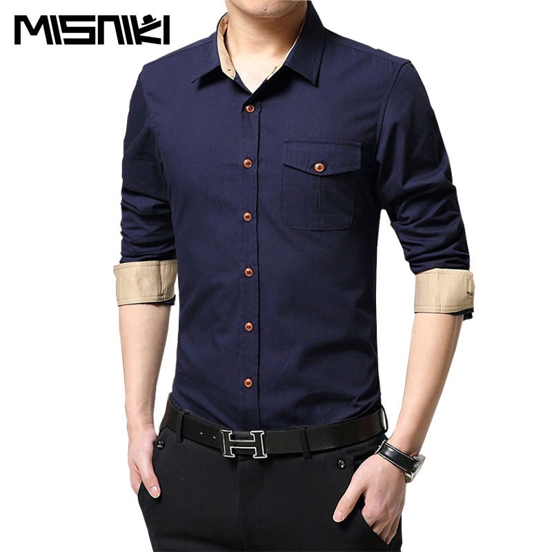 MISNIKI 2017 Spring Autumn Hot Men Shirt Long Sleeve Cotton Casual Slim Fit Mens Dress Shirts (Asian Size)