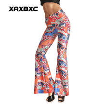 Fashion 0008 Sexy Girl Women Orange Peacock Bird 3D Prints Spandex Elastic Fitness Dance Bell bottoms