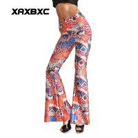 Moda 0008 Sexy Girl Kobiety Pomarańczowy Paw Ptak 3D Drukuje Elastan Elastyczny Do Ćwiczeń Tanecznych dna Dzwon legginsy Spodnie Plus size