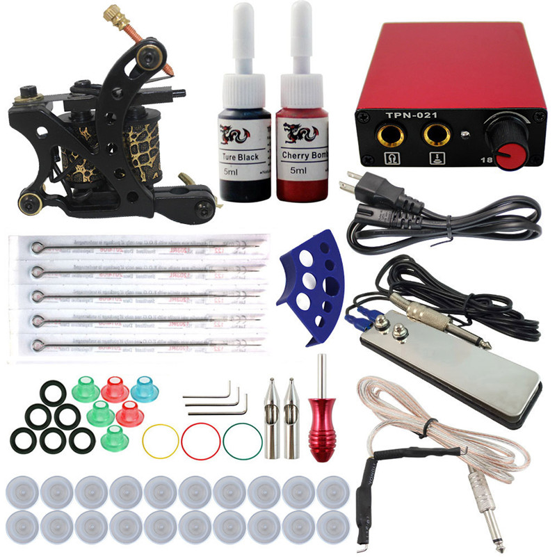 Beginner Tattoo Machine Kit 1PCS Coil Machine Gun 2 Colors Inks Needles Grip Tips Power Supply For Permanent Makeup beginner tattoo kit 2 machine gun with lcd tattoo power inks supply free shippiing