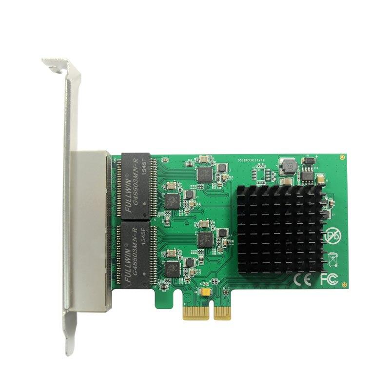 IOCrest PCI-Express to 4-port Gigabit Ethernet Server Adapter Network Card 10/100/1000Mbps RTL8111 Chipset