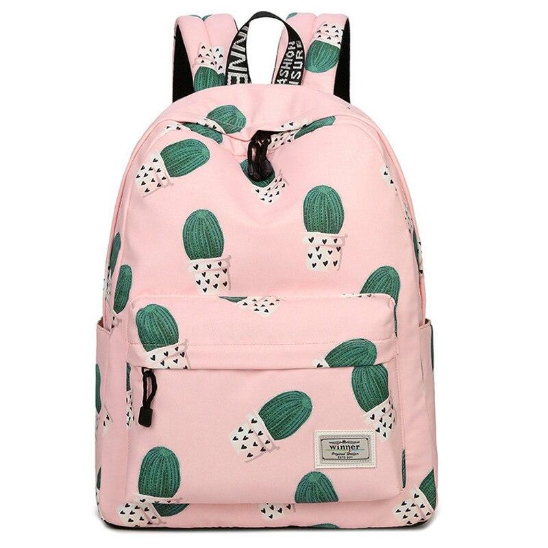 Étanche Toile Femmes Sac À Dos Voyage Cactus Impression Cartable Rose Bookbag Kawaii Sacs D'école pour Filles Ordinateur Portable Mochila