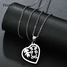 Eleple Titanium Steel Heart Hollow Out Mother Daughter Girl Pendant Necklaces Forver Love Sisters Family Jewelry Gift S-N475-01