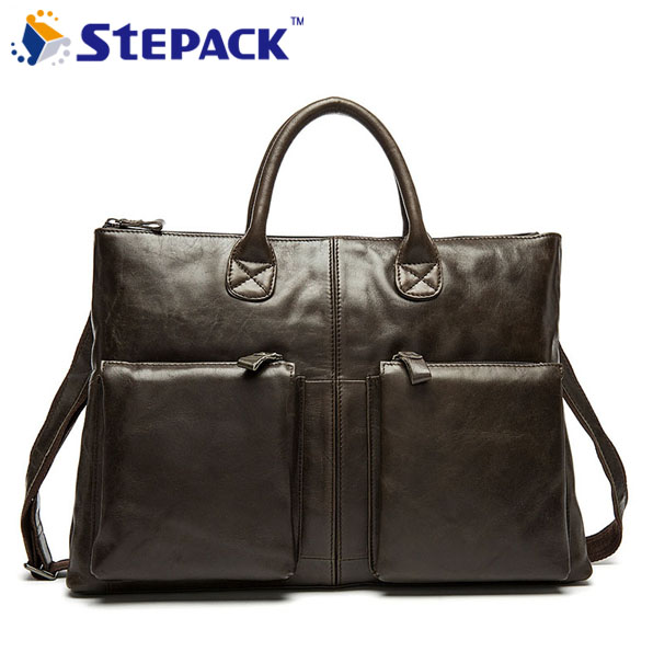 ФОТО 2016 New Arrival Briefcase Handbag Tote Leather Business Briefcase Bags Leather Bag Men Genuine Leather Shoulder Bag WMB0135