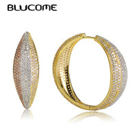 Blucome Luxury Three Tones Color Round Shape Earrings Cubic Zircon Copper Jewelry For Women Wedding Party Banquet Ear Decoration