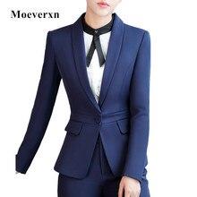 Women blazer feminino long sleeve autumn winter v-neck single button elegant jacket navy black formal business office blaser