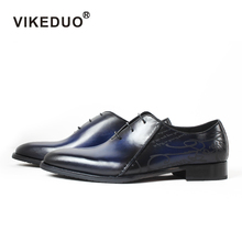 Vikeduo Men's Oxford Formal Shoes Laser Wedding Office Male Dress Shoe Genuine Cow Leather Zapatos Hombre Handmade Sapato 2019 vikeduo 2018 men s genuine leather dress shoes vintage classic monk strap shoe male plus size handmade wedding sapato masculino
