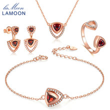 LAMOON Real 925-Sterling-Silver Red Garnet Natural Gemstone 4PCS Jewelry Sets S925 Fine Jewelry for Women Wedding Gift V026-1