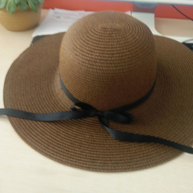 364ffc50 BONJEAN woman summer hat vintage straw hat With Ribbons Bow Wide Large Brim  cap hat beach sun hats ladies fashion Casual Panama