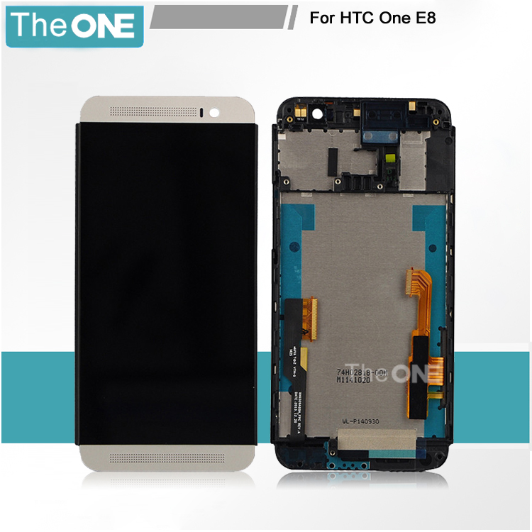 100% Tested New LCD For HTC One E8 LCD Display With Touch Screen Digitizer Frame Asembly Black/Gold Color Free Shipping black gold white lcd screen display touch panel digitizer with frame for htc one e9s e9st e9sw td lte not for e9 free shipping