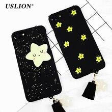 USLION Beautiful Star Pendant Tassel Case For Apple iPhone 7 6 6s Plus Cute Smile Phone Cover Hard PC Back Cases Capa Coque