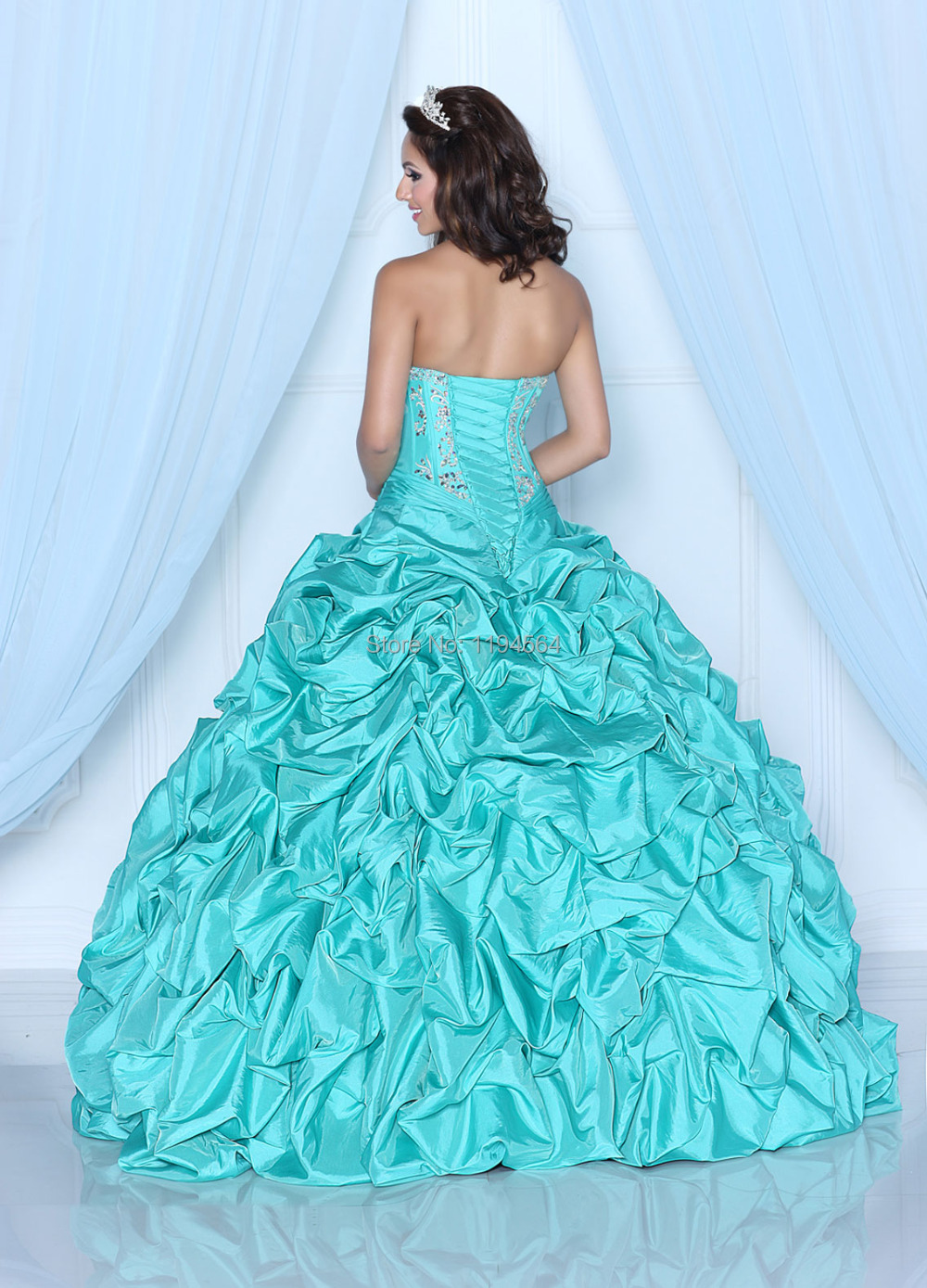2015 New Year Dress In Stock Turquoise Quinceanera Dress for 15 ...