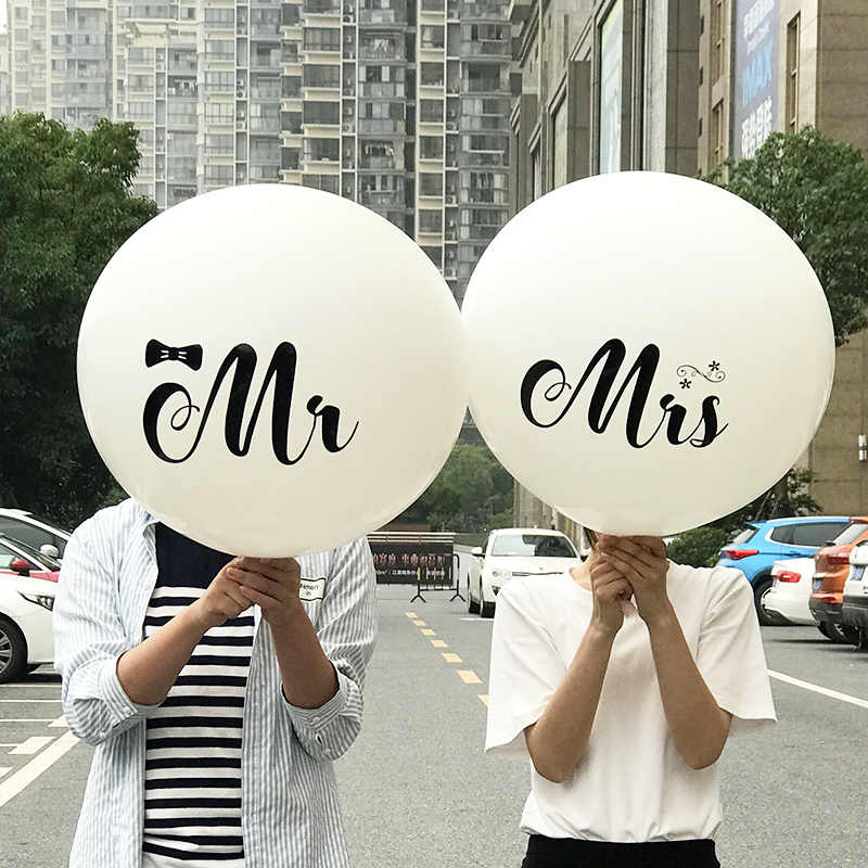 1PC Big Size 36inch Mr Mrs White Latex Balloons for Wedding Party/Bridal/Bride to be/Engaged Party Air Globos Party Supplies