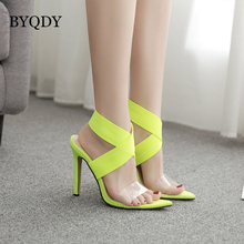 BYQDY 2019 Fashion Fluorescent Sandals Ankle Strap Cross-Strap Woman PVC Sandals High Heels Party Summer Footwear Size 42 недорого