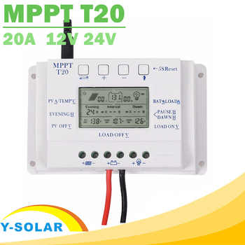 Solar Charge Controller 12V 24V 20A Solar Panel Battery Regulator with Load Light and Timer Control Big LCD Display T20 Y-SOLAR - DISCOUNT ITEM  6% OFF All Category