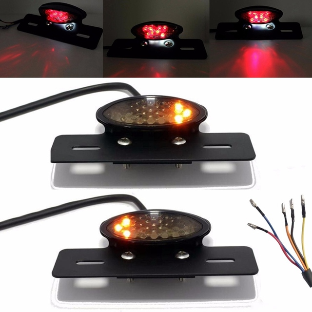 Motorcycle Bobber LED Tail Brake Light Red Yellow Rear Turn Signal License Number Plate Integrated Lamp Custom Chopper Dirt Bike